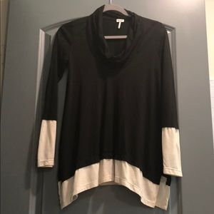 Anthropologie black and white cowl neck